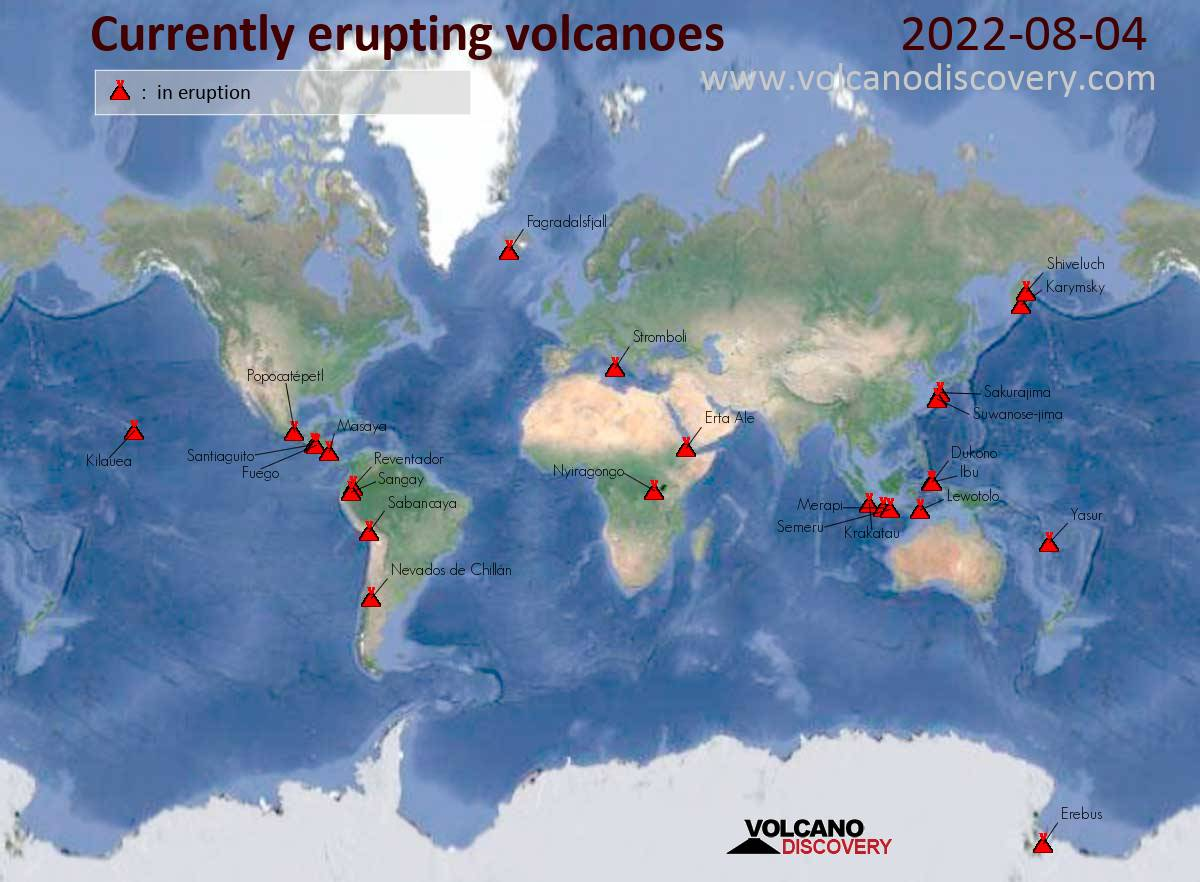 Daily (static) map of currently erupting active volcanoes ... on early world maps, contour line, geographic coordinate system, satellite imagery, map projection, aerial photography, global map, geographic information system,