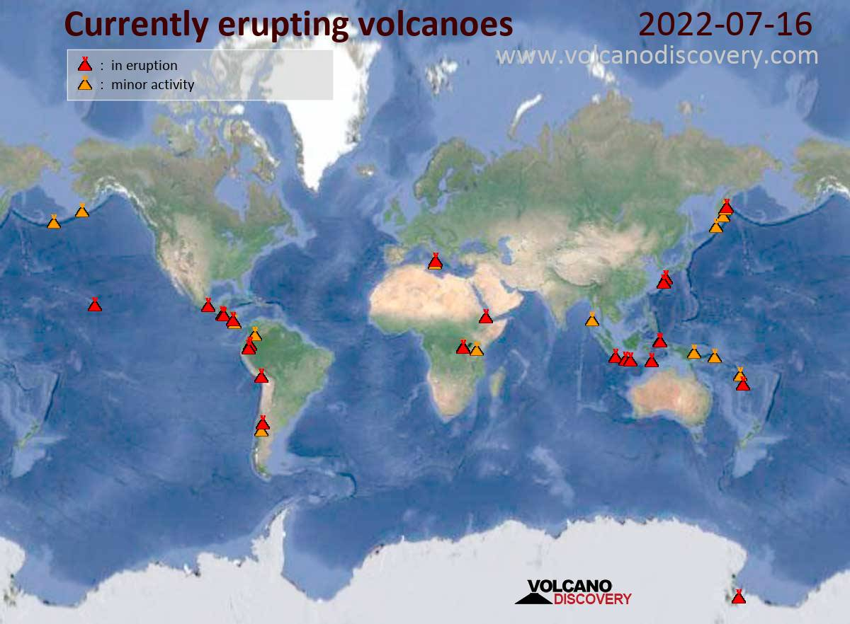 Daily active volcano map - erupting and restless
