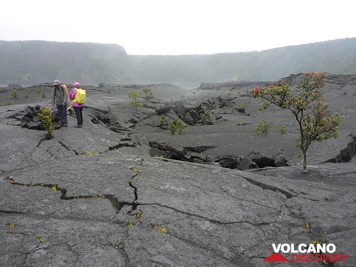 Day 6: Standing in the centre of what used to be a boiling hot lava lake where the thick cooled crust cracked and buckled as the level of the liquid lake dropped when some of the lava drained back into the vent (Photo: Ingrid Smet)