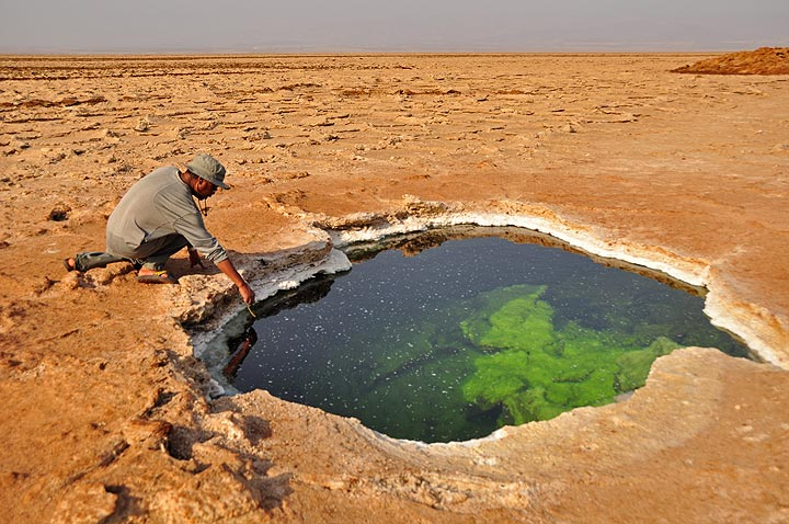 Checking the acid water that collects in the many ponds near the salt deposits of Hamed Ela (Photo: Anastasia)
