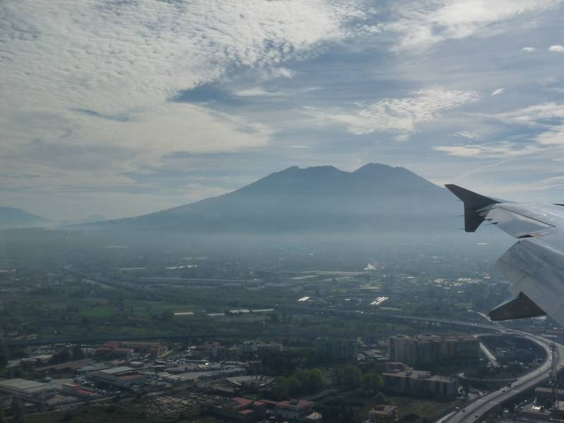 Silhouette of Vesuvius as seen from the airplane whilst arriving in Napels, Italy's Volcanoes: The Grand Tour, October 2013 (Photo: Ingrid)