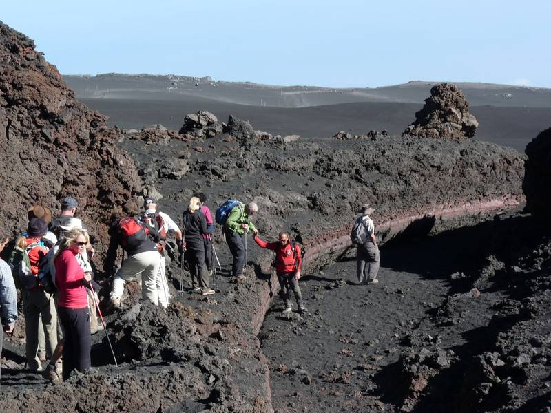 Our group during one of the Etna hikes, walking in a lava channel from a 2002 eruption, 29 October 2013 (Photo: Ingrid)