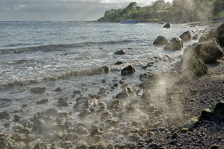 Hot pyroclastic flow deposits at the shore of Paluweh island, Indonesia, Sep 2013 (Photo: Markus)