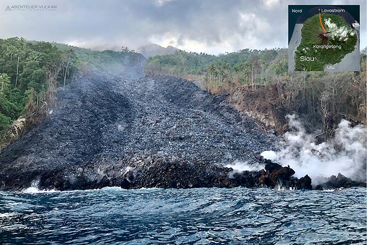 The new lava flow that entered the sea in Feb 2019. (Photo: Thomas Spinner)