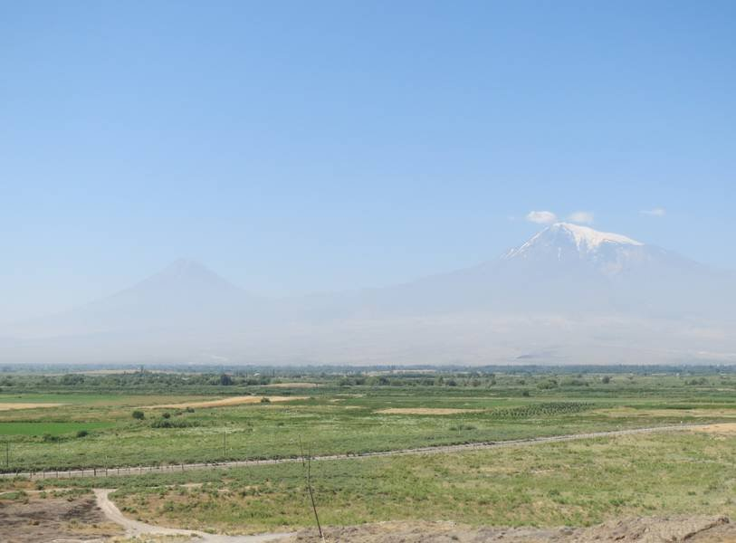 """Greater and Lesser Ararat"" with Turkish border, seen from Khor Virap Monastery, Armenia (Photo: WNomad)"