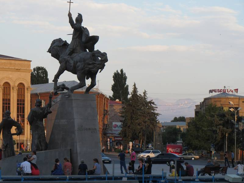 Main Square in Gjumri at dawn, peak of Aragats stratovolcano in the background, Armenia (Photo: WNomad)
