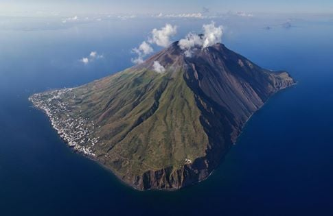 Aerial view of Stromboli island seen from the NE (June 2017) (Photo: Martin Rietze)