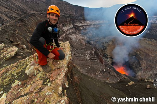 Expedition leader volcanologist Yashmin Chebli inside Benbow crater (Photo: Yashmin Chebli)