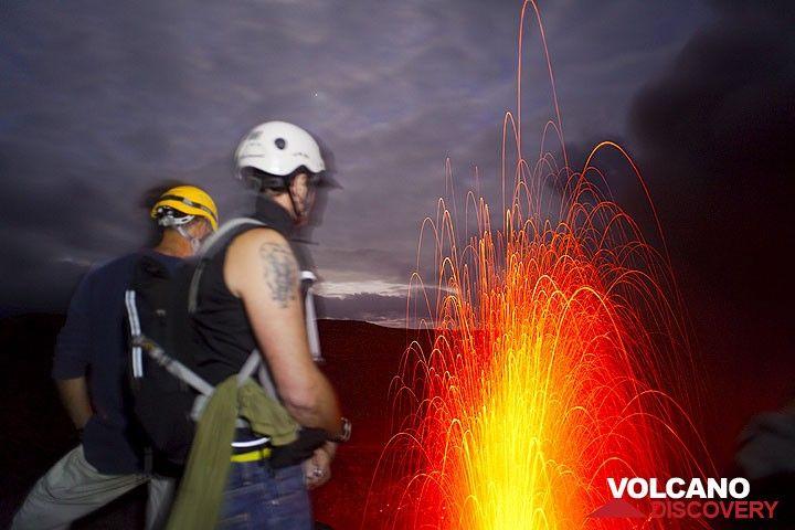Observing Yasur volcano erupting at night (Photo: Tom Pfeiffer)