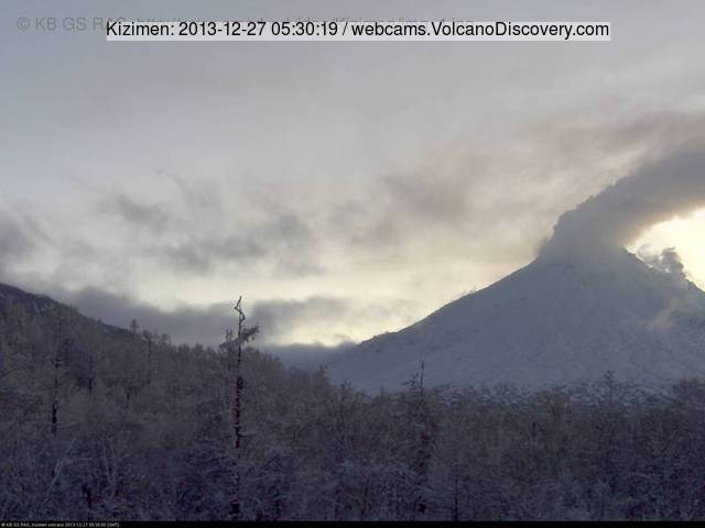 Steaming Kizimen volcano this morning