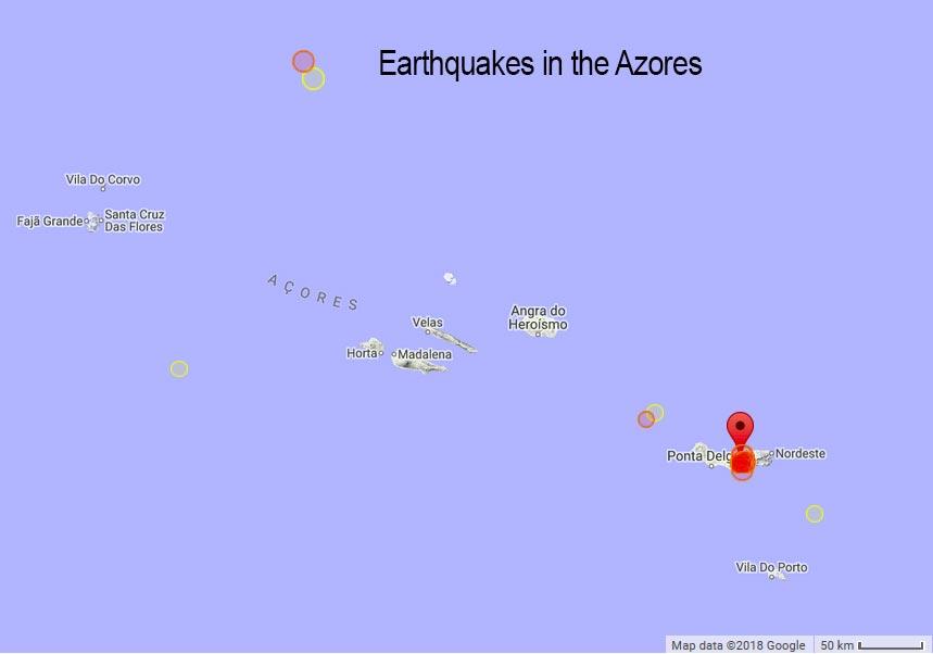 Azoren Karte.Jüngste Erdbeben Auf Den Azoren Interaktive Karte Und Erdbebenliste