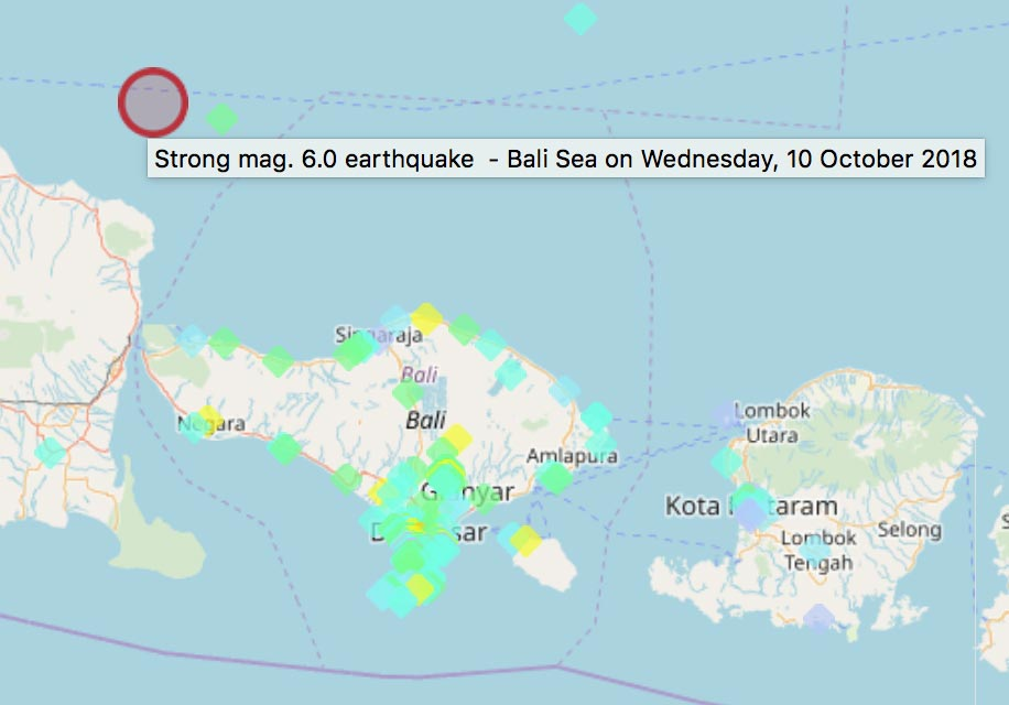 Latest earthquakes in Bali, Indonesia interactive map & list: past ...