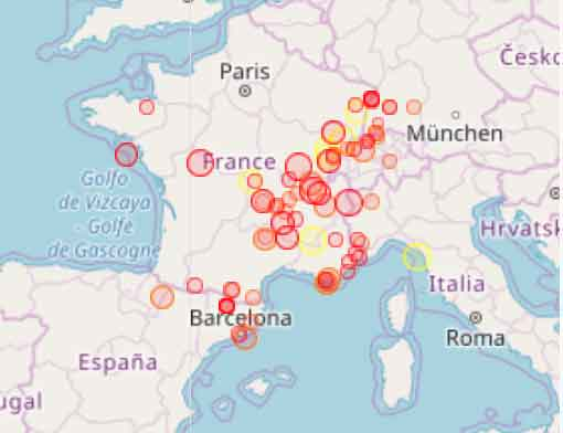 Map Of France N Italy.Latest Earthquakes In France Interactive Map List Past 30 Days